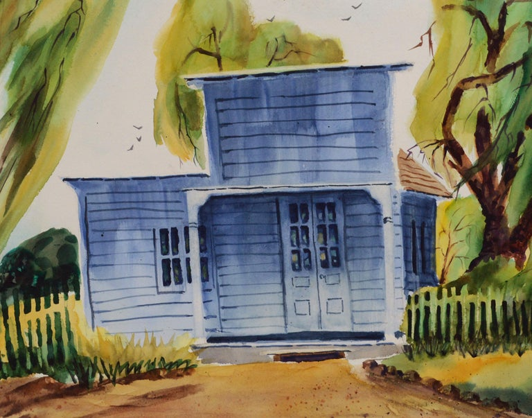 Returning Home Farmhouse Watsonville California - Painting by L. Heebner