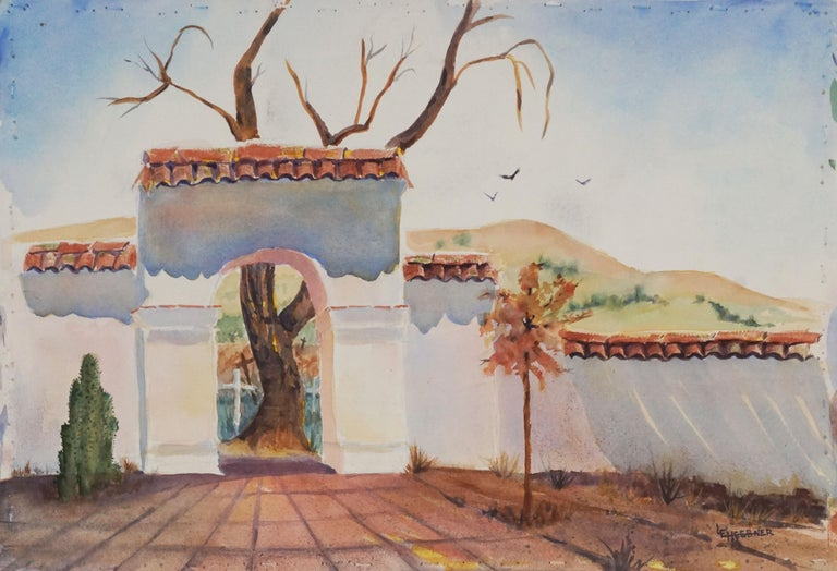 Lillie E. Heebner Landscape Painting - Santa Cruz Mission- Double Sided Watercolor By Lillie Heebner