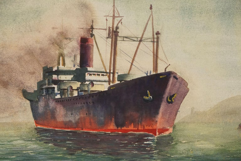 Ship at Sea - Double Sided Watercolor - Painting by Lillie Heebner