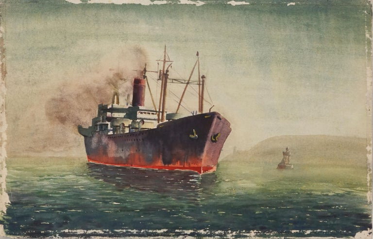 Lillie Heebner Landscape Painting - Ship at Sea - Double Sided Watercolor