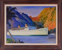S.S. Mariposa, Matson Steamship - Historical Maritime Seascape Illustration