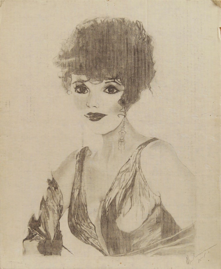 """A beautiful 1985 pencil drawing of actress Joan Collins by American artist Louis Nadalini (Italian, 1927-1995). Signed and dated """"Nadalini 85"""" lower right. Unframed. Image, 20""""H x 16""""L. ARTFORUM article: Louis Nadalini In the last couple of seasons,"""
