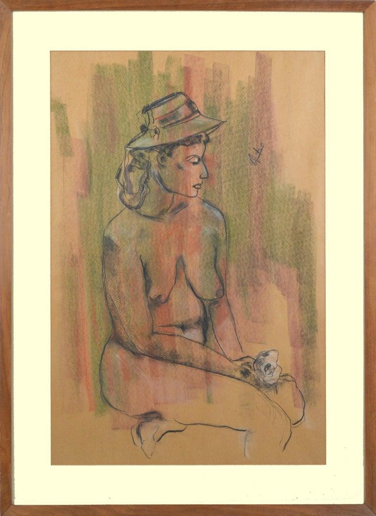 Louis Nadalini Figurative Art - Seated Nude Figure with Rose