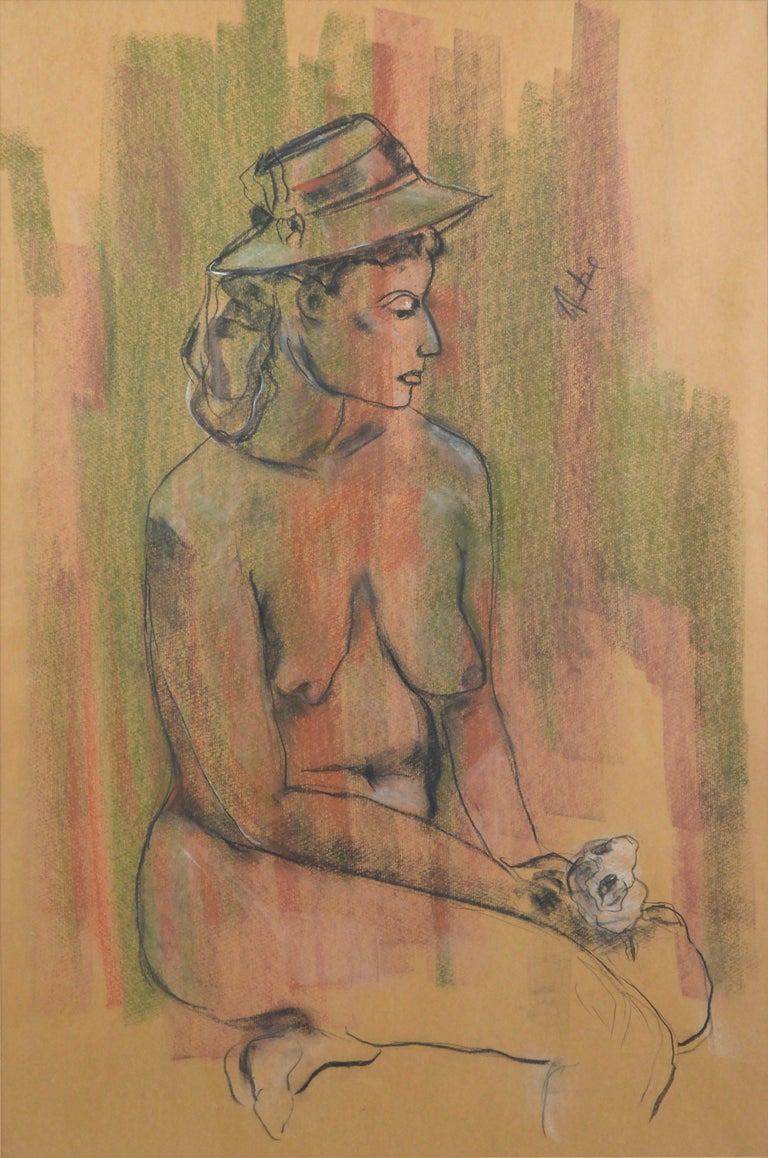 Seated Nude Figure with Rose  - Art by Louis Nadalini