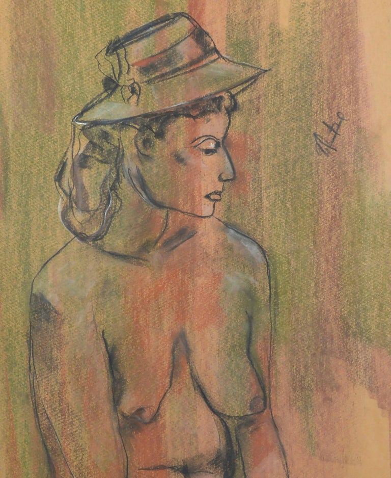 Seated Nude Figure with Rose  - American Impressionist Art by Louis Nadalini