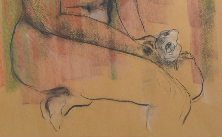 Seated Nude Figure with Rose  - Brown Figurative Art by Louis Nadalini