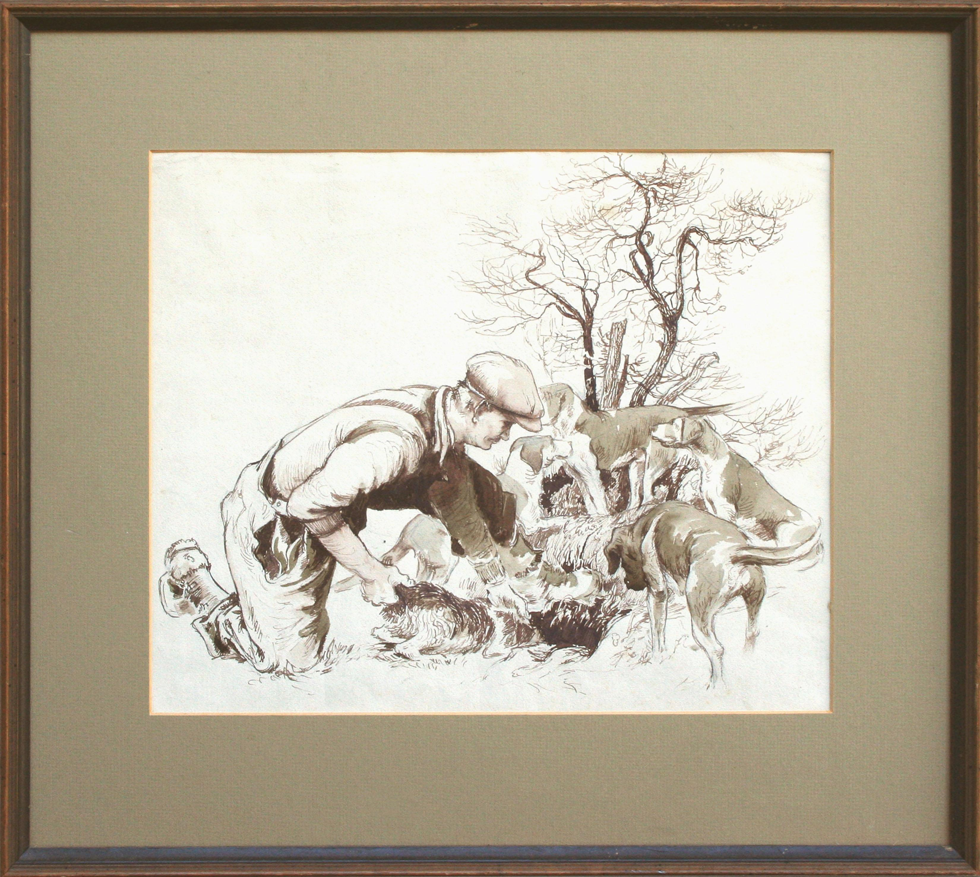 On  the Hunt - Figurative Drawing with Dogs