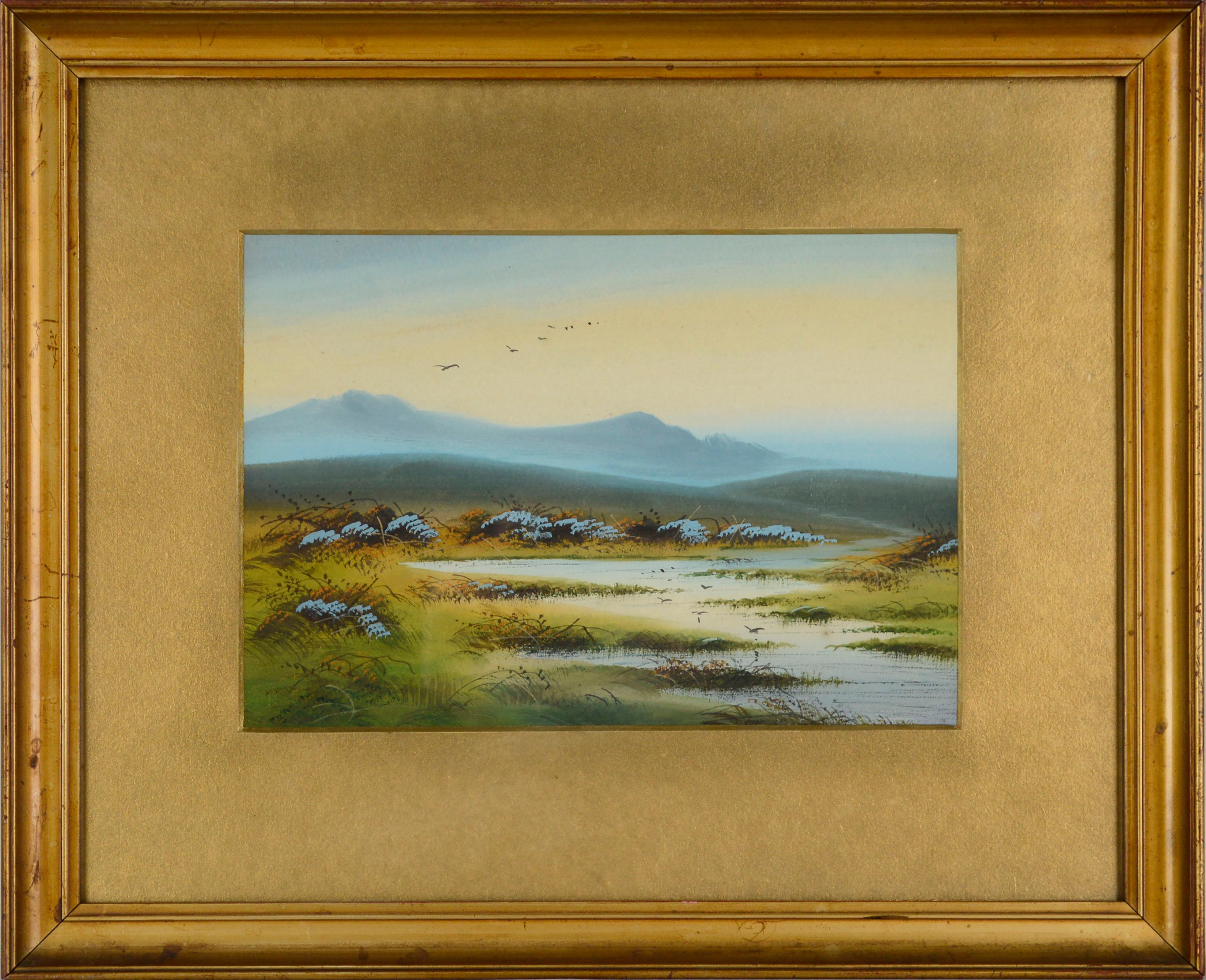1920's Peaceful Marsh Wetlands Watercolor Landscape with Birds