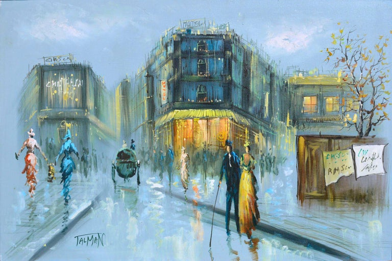French Street Scene - Figurative Landscape  - Painting by Talman