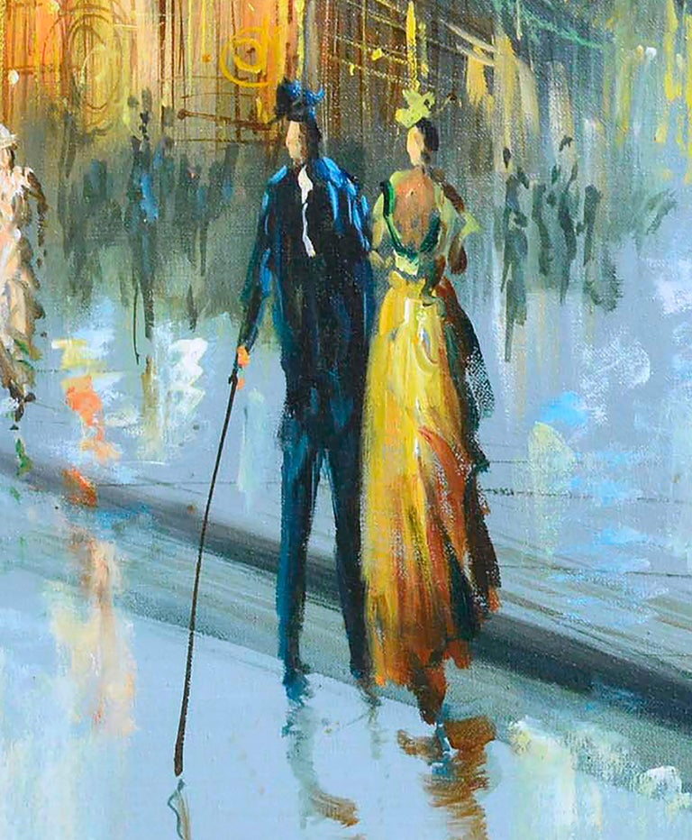 Charming figurative landscape painting depicting turn-of-the-century Paris street scene. Signed