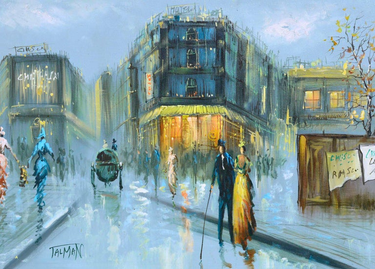 French Street Scene - Figurative Landscape  - Impressionist Painting by Talman