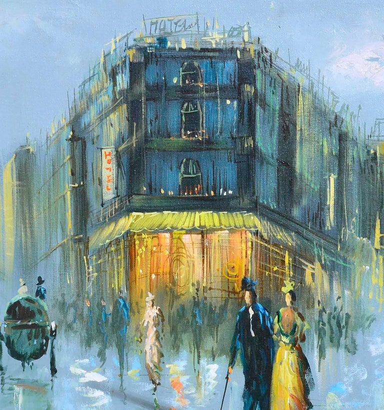 French Street Scene - Figurative Landscape  - Gray Landscape Painting by Talman