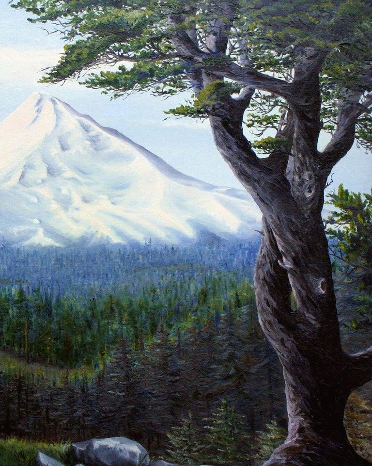 Mt. Hood, Oregon - Mountain Landscape  - Black Landscape Painting by J Adams
