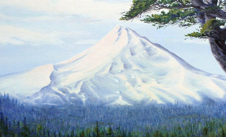 Expansive landscape painting of the dramatic Mt. Hood, Oregon and the surrounding evergreen forest by J. Adams. Signed