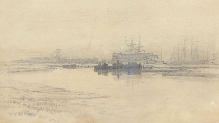 Landscape of Boats at San Francisco Port 1887 - Beige Landscape Art by Raymond Dabb Yelland