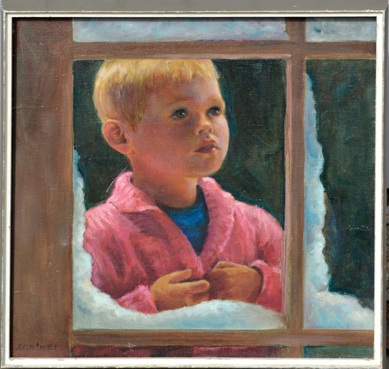 """Veon Zentner Portrait Painting - """"I See a Robin"""" - Portrait of a Boy in Winter"""