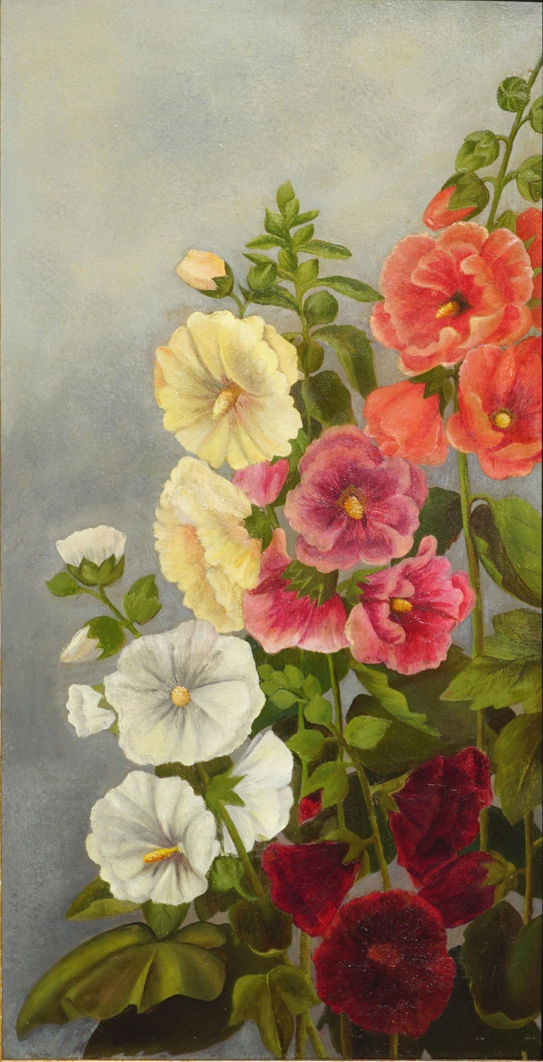Old Fashioned Hollyhocks - Painting by Georgia White