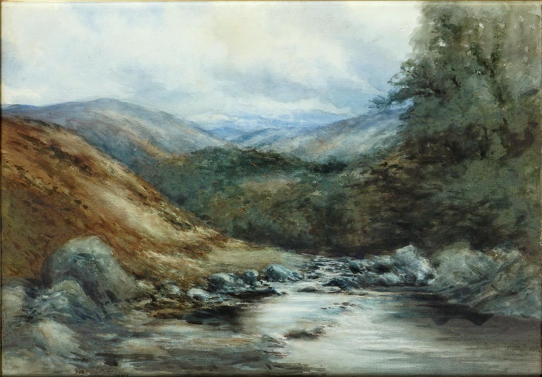 The River Dee, Balmoral, Scotland - Landscape - Painting by George S. Cathro