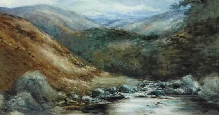 The River Dee, Balmoral, Scotland - Landscape - Brown Landscape Painting by George S. Cathro