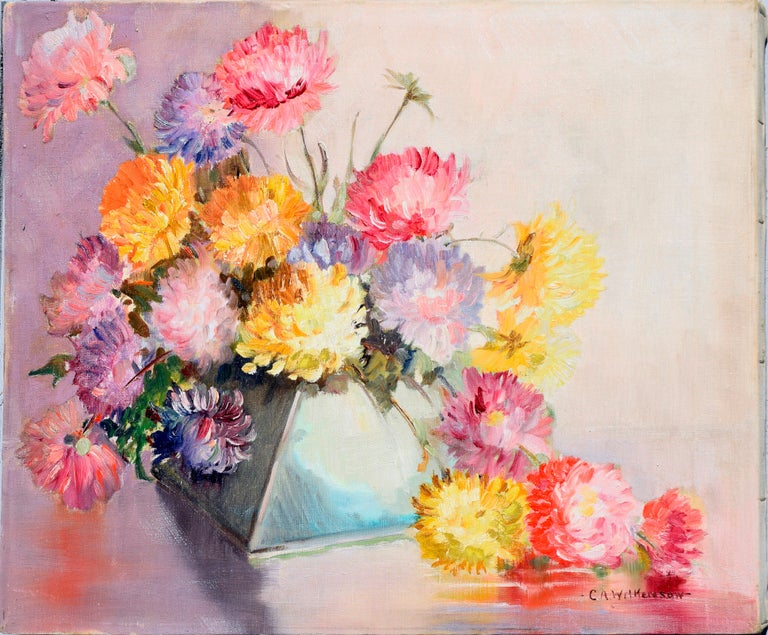 Mid Century Chrysanthemums in Deco Vase Still-Life  - Painting by C.A. Wilkenson