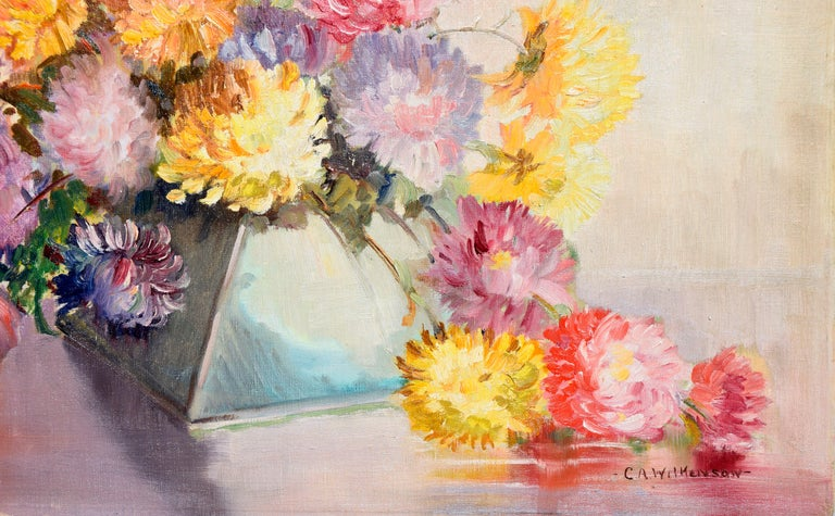 Mid Century Chrysanthemums in Deco Vase Still-Life  - Beige Interior Painting by C.A. Wilkenson