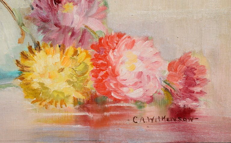 Vibrant mid-century floral still-life of a bouquet of Chrysanthemums in a classic Deco style trapezoid vase by C.A. Wilkenson (American, 20th C), c.1960. Signed