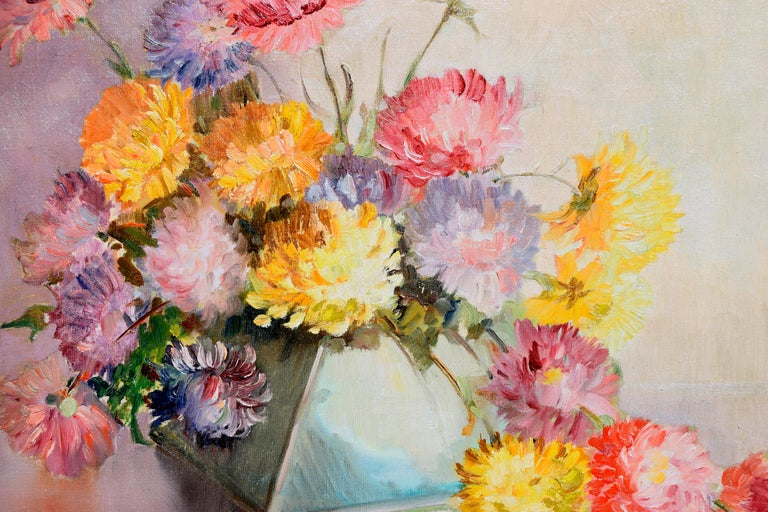 Mid Century Chrysanthemums in Deco Vase Still-Life  - American Impressionist Painting by C.A. Wilkenson
