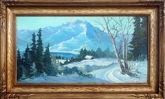 California Sierra Mountains and Cabin in the Snow - Landscape