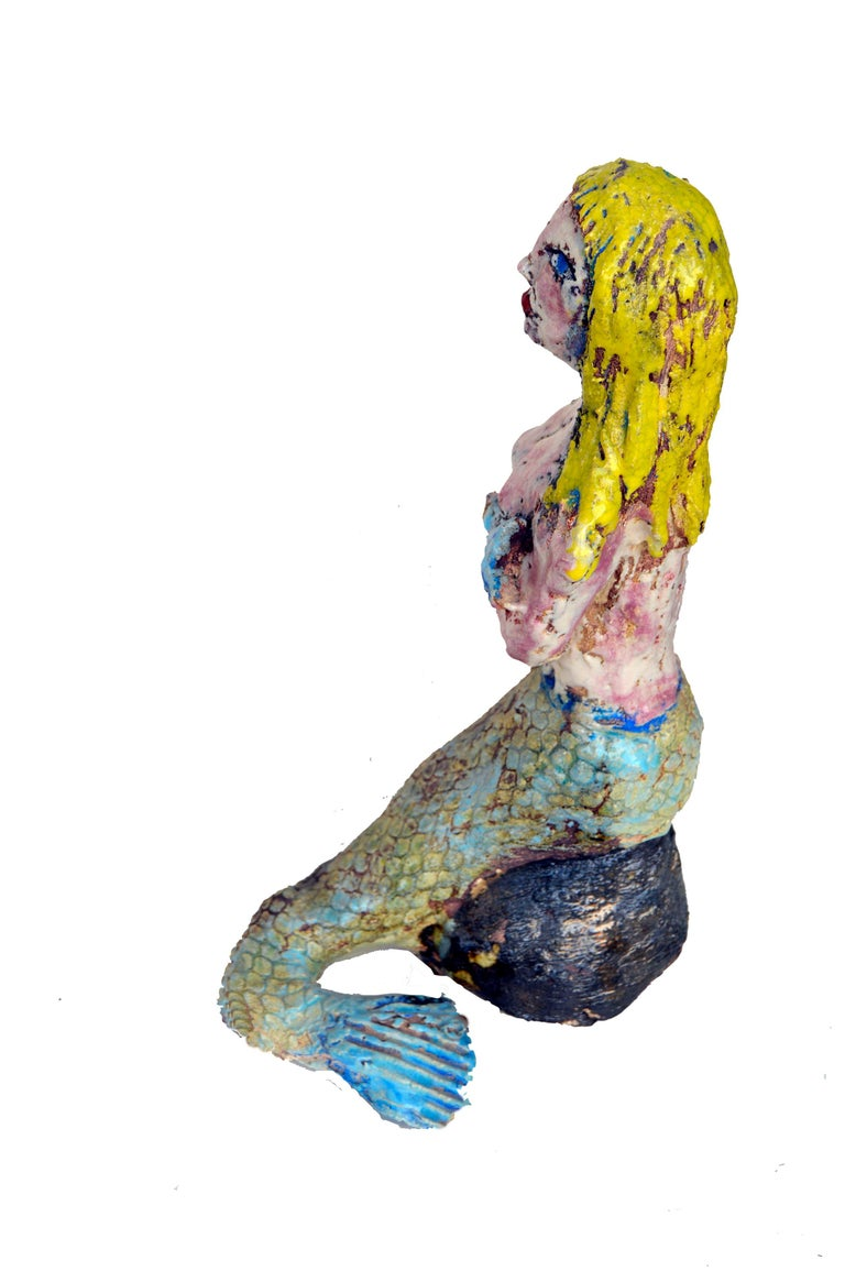 Mermaid with Blue Fish - Brown Figurative Sculpture by Carole Depalma
