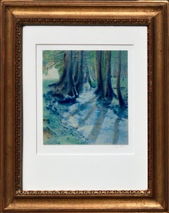 """""""Floating Shadows""""  - Cyanotype / Watercolor Forest Landscape"""