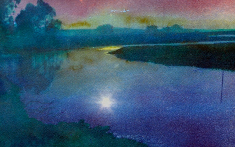 Soft watercolor accents add to the beauty of this cyanotype and watercolor titled