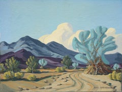 Smoke Tree on Desert Road Landscape