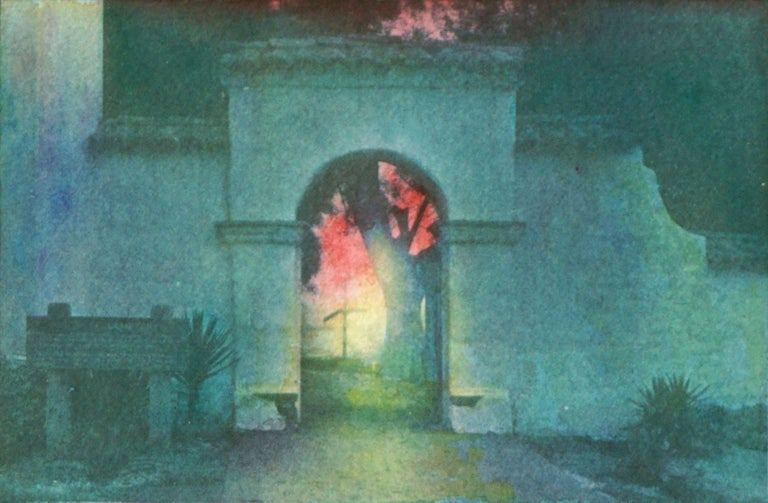 Vibrant watercolor accents add to the beauty of this cyanotype and watercolor of California Mission entrance during sunset by Cheryl Trotter (American, 20th century). Cheryl Trotter, a Pacific Grove artist and fine art photographer, owned and