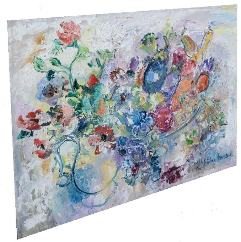 Table Still Life by Lilian Whitteker - Gray Still-Life Painting by Lilian Whitteker