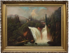 Hudson River School Water Mill Landscape