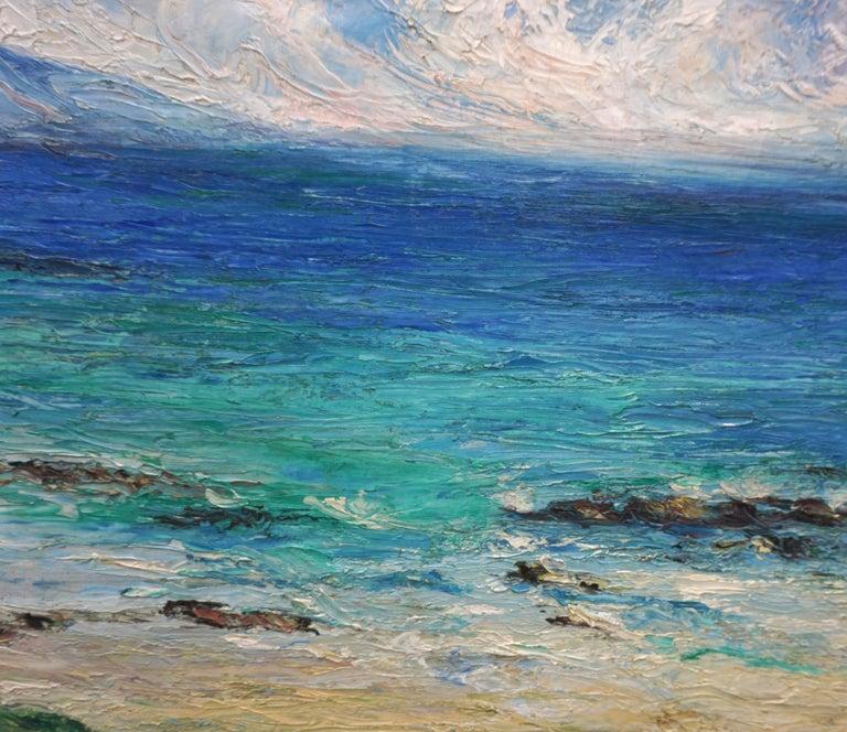 Malibu Coastline 1950's - American Impressionist Painting by Rosalie Leonard