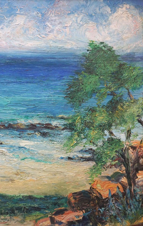Malibu Coastline 1950's - Gray Landscape Painting by Rosalie Leonard