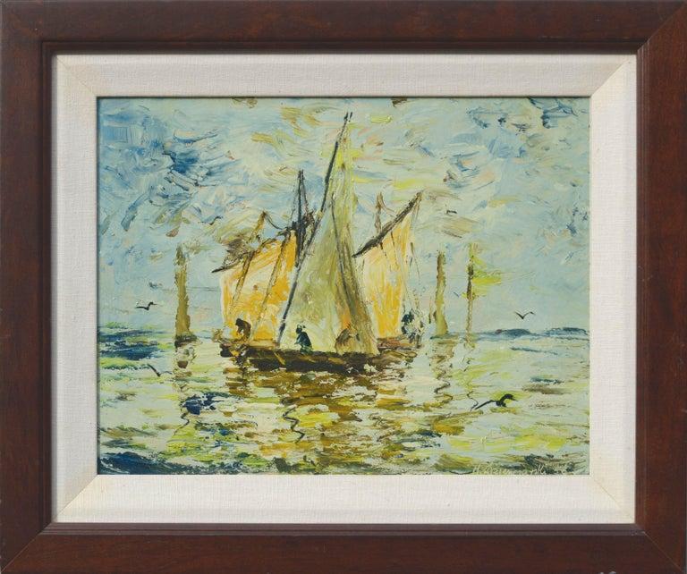 Henryk Dzienczarski Landscape Painting - Boats, 1956