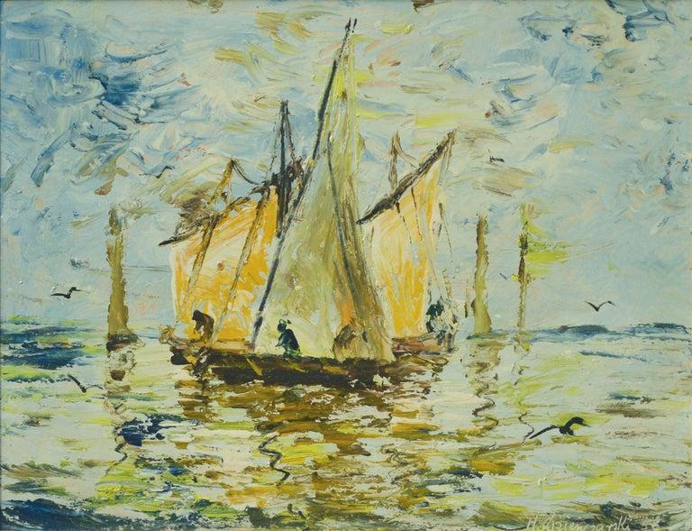 Boats, 1956 - Painting by Henryk Dzienczarski