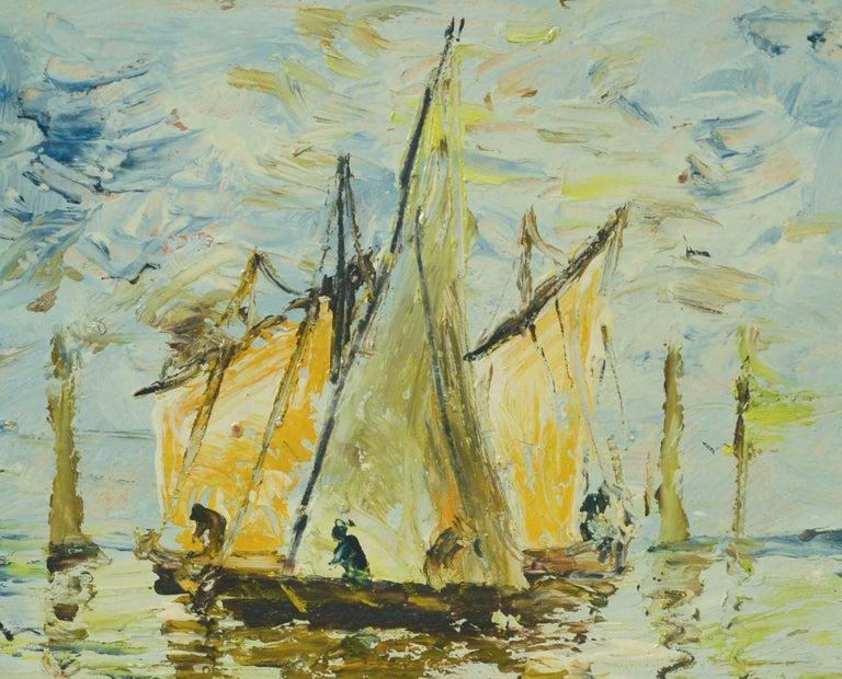 Boats, 1956 - Impressionist Painting by Henryk Dzienczarski