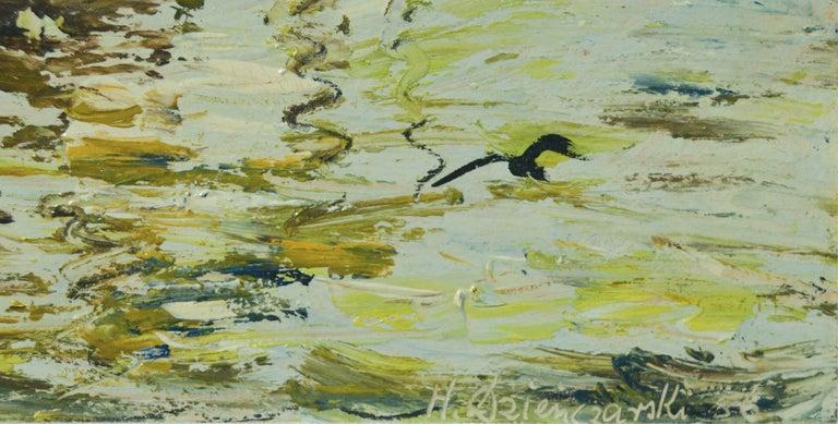 Boats, 1956 - Gray Landscape Painting by Henryk Dzienczarski