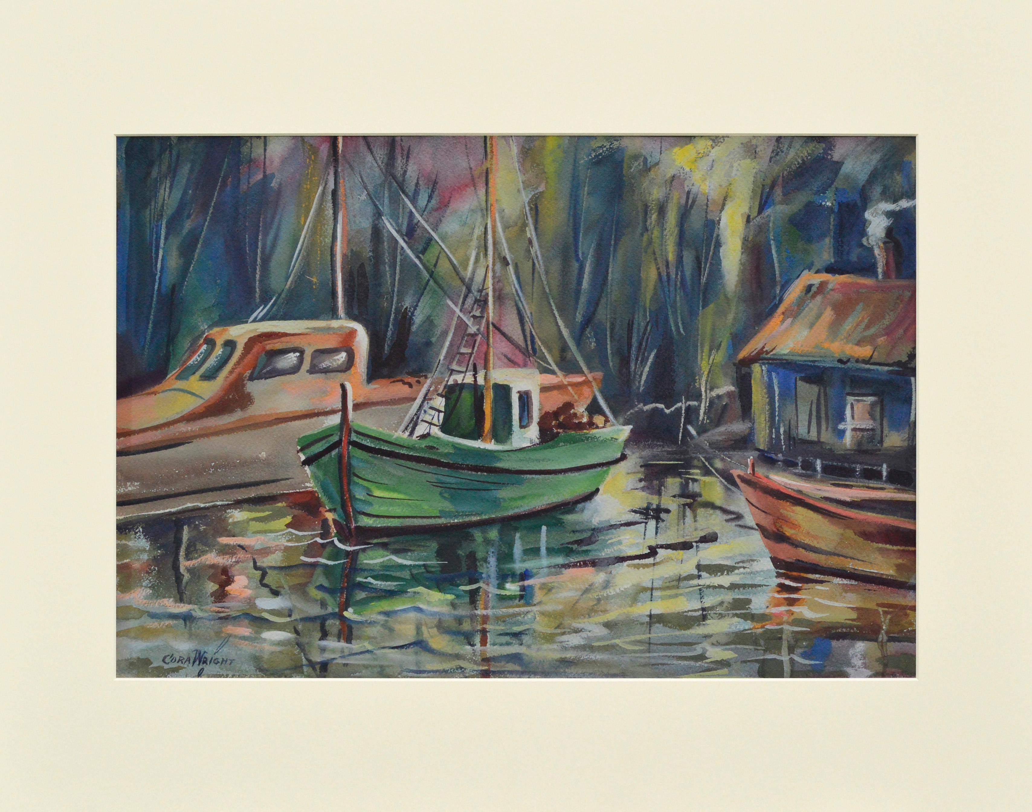 Mid Century Fishing Boats Landscape