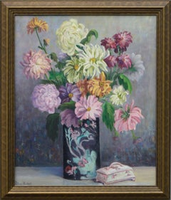 Floral Still Life with Asters, Chrysanthemums and Peonies