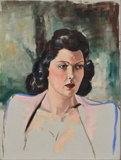 Portrait of a Woman in a Pink and Blue Blazer
