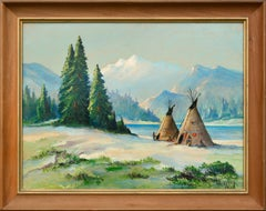 Native American Camp by the Lake - Landscape