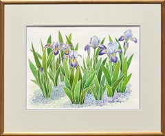 Purple Irises Watercolor Flowers by David Wang