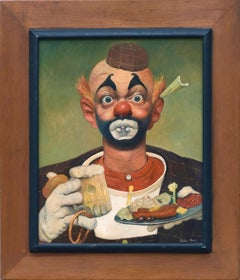 """Buffet"" - Portrait of a Clown with Food and Beer"
