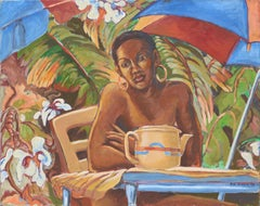 Portrait of a Woman with Teapot and Tropical Plants