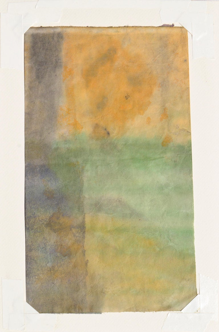 Mid Century Abstract Vertical Sunset  - Beige Abstract Drawing by Irene Pattinson