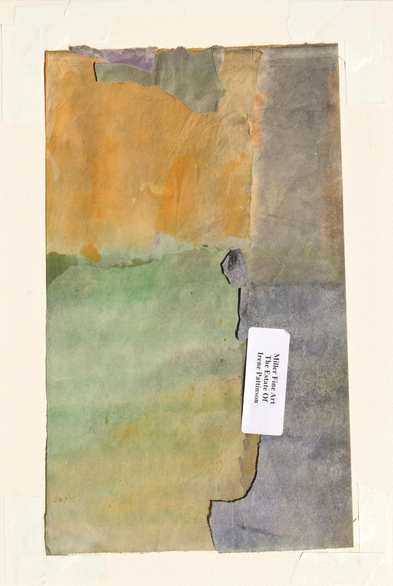 Abstract watercolor fragment of a sunset over a field by Irene Pattinson (American, 20th Century). Tag on verso reads